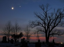 evening star over cemetary